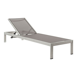 Shore Outdoor Aluminum Mesh Chaise, Silver Gray