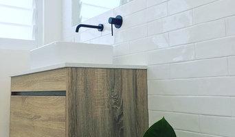 IBIZA   Timber Wood Grain Bathroom Vanity with Stone Benchtop