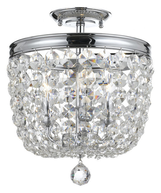 Crystorama 783 Ch Cl S Archer Polished Chrome Semi Flush Mount