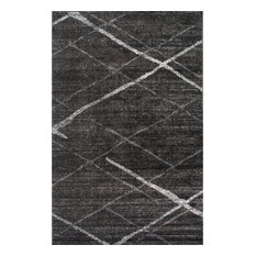 Contemporary Striped Polypropylene Rug, Dark Gray, 10'x14'