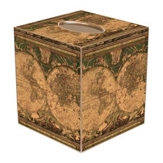 TB652 - Antique World Map Tissue Box Cover