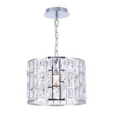 Gelid Silver Pendant Light With Crystal Drum Shade