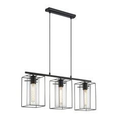 Black  Eglo Loncino 3-Light Ceiling Light