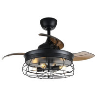 """Industrial Ceiling Fan with Foldable Blades, 34"""""""
