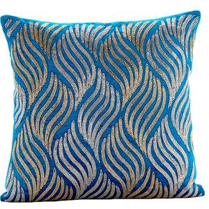 Zardozi 30x30 Velvet Turquoise Cushions Cover, Liberty