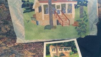 House and Scenic Portraits created using cut fabrics