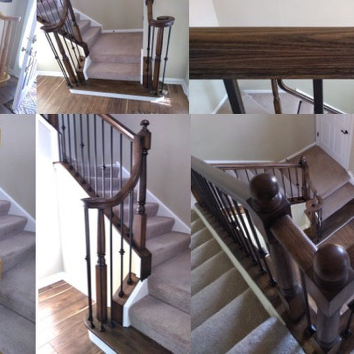 Gel Stained wood and Iron Balusters