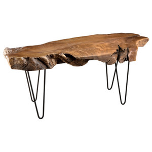 Clara Low Teak Coffee Table With Steel Legs