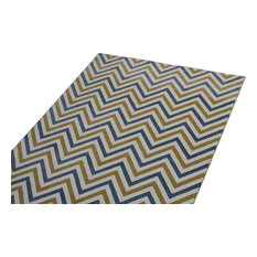 Cozy Rugs - Blue and Yellow Chevron Rug, 8u0027 x 10u00277
