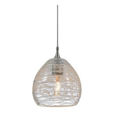 Clear 1-Light Mini Pendant With Spun Web Patterned Shade