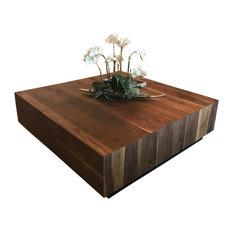 "Black Walnut Coffee Table, Modern, Eclectic, Solid Walnut, 48""x48""x18"""