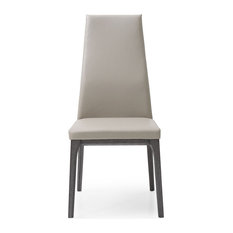 Ricky Dining Chair Taupe Faux Leather Solid Wood With Oak Veneer Grey Base