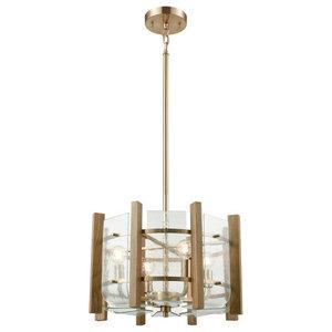 "Chandelier 4-Light With Satin Brass Wood Slats, Candelabra, 18"""