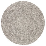 Jaipur Living - Jaipur Living Tenby Solid Gray Round Rug, 8'x8' Round - The understated and sophisticated modern look of the Idriss collection lends balance and versatile style to homes. The braided Tenby area rug is crafted of durable wool and coiled into a chic circular design, perfect for bedrooms, breakfast nooks, and living spaces. Soft heathered gray sets a light and relaxed tone to complement any decor.