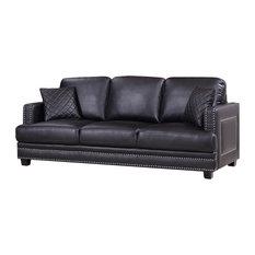 1st Avenue   Ferrara Remy Leather Sofa, Black   Sofas