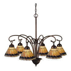 "31"" Tiffany Jeweled Peacock 6-Light Chandelier"