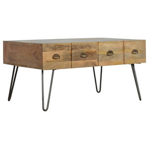2-Drawer Coffee Table With Iron Base, Oak Finish Mango Wood/Pewter