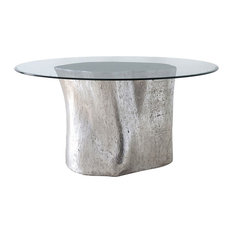36 Dining Table Log Base, 60 Glass Top Silver Leaf Resin 460