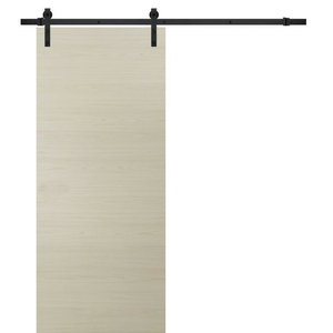Sliding Barn Door 30 x 80 & 6.6FT Rail| Planum 0010 Milk Ash|