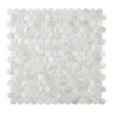 "SomerTile 11.5""x11.625"" Seashell Mini Penny Seashell Mosaic Wall Tile, White"