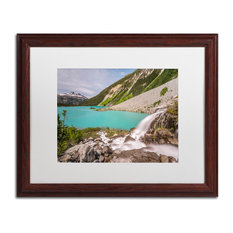 Pierre Leclerc 'Glacier Waterfall' Matted Framed Art, Wood Frame, White, 20x16