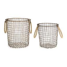 2-Piece Metal and Jute Basket Set
