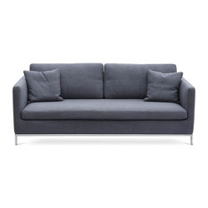 Sohoconcept Contemporary Sofa With Stainless Steel Base Dark Gray Tweed Sofas