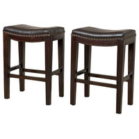 GDF Studio Jaeden Backless Stools, Brown Leather Counter Height, Set of 2