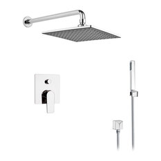 """Chrome Shower System With 8"""" Rain Shower Head and Hand Shower"""