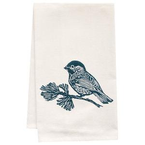Little Blue Bird of Happiness Cotton Flour Sack Dish Towel