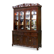 china furniture and arts 60 rosewood french queen ann grape motif china cabinet - Dining Room Corner Hutch