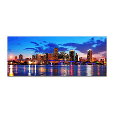 Miami City Skyline, High Gloss, Reverse-Printed Acrylic