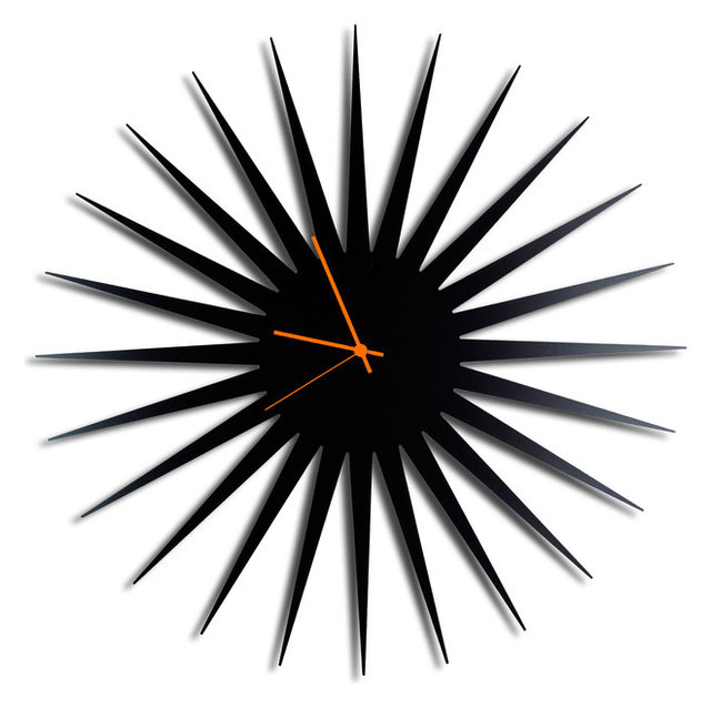 Ordinaire MCM Starburst Clock, Black/Orange Midcentury Modern Style Wall Clocks