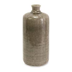 Small Beige Taupe Grey Kempton Round Vase Jar Ceramic Decor