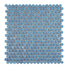 """11.75""""x11.75"""" Asteroid Penny Round Porcelain Floor/Wall Tile, Sky Blue"""