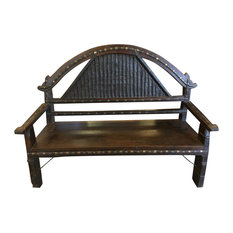 Mogul Interiot - Consigned Antique Indian Bench Hand Carved Iron Patina Eclectic Dark Brown Sofa - Accent and Storage Benches
