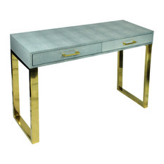 Rectangular Wood And Metal Console Table With 2 Drawers Blue And Gold