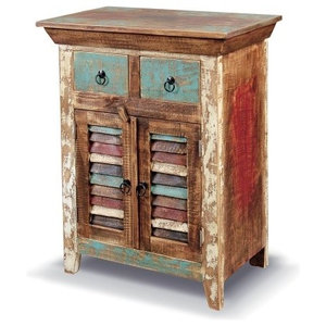 Distressed Reclaimed Wood Entry Way Cabinet - Beach Style ...