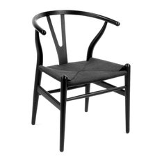 Wood Y Dining Chair Black Frame With Black Seat