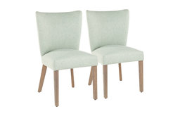 LumiSource Addison Dining Chair, Ash Brown Wooden Legs/Green, Set of 2
