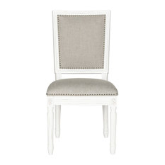 Safavieh - Buchanan 19''H French Brasserie Linen Rect Side Chair, Set of 2 - Dining Chairs