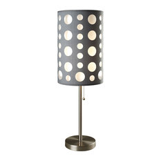 """33"""" Tall Metal Table Lamp, Retro design with Grey and White Shade"""