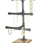 "William Roberts Vintage - Jewelry Display Rack, 3-Tier Industrial Style Pipe - Industrial Style Pipe Jewelry Display Rack is made using 1/2"" Pipe and Pipe Fittings and mounted on Cedar Wood Base."