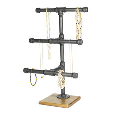 Jewelry Display Rack, 3-Tier Industrial Style Pipe