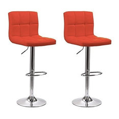 Contemporary Set of 2 Bar Stools, Faux Leather, Adjustable Swivel Gas Lift, Red