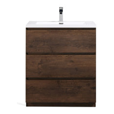 Moa Bathroom Vanity With 3 Drawers & Acrylic Sink, Rosewood, 30""