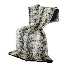 """Luxe Faux Fur Throw Blanket, Brown Snakeskin, 58""""x60"""""""