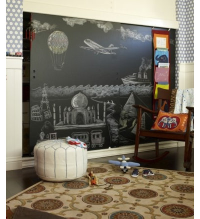 These Large Chalkboard Doors Look Fantastic Against The Geometric Wallpaper.