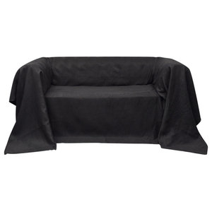 VidaXL Micro-Suede Couch Slipcover, Anthracite, 140x210 cm