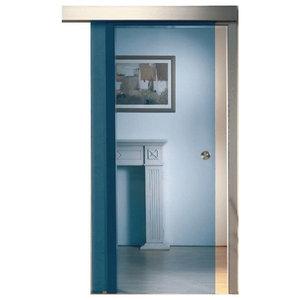 "Sliding Glass Barn Door Blue Tinted Transparent Glass, 28""x81"""